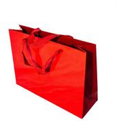 Bolsa Cartulina Roja Laminada 32x10x23 Con Manija X50