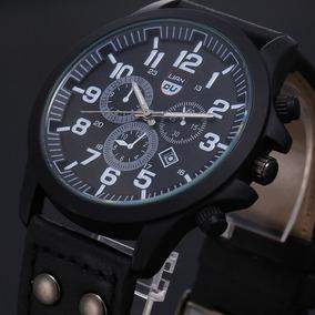 Relógio Masculino Quartzo Com Calendário , Pulseira De Couro