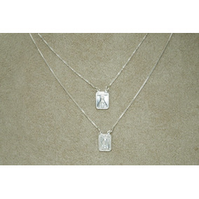Escapulário N. S. Aparecida S. C. Jesus Mini (m) Prata 925