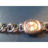 Antiguo Vintage Reloj Pulsera Plata Esmalte Dama Art Nouveau