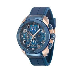Relógio Seculus Masculino Cronógrafo Azul 13009gpsvru5