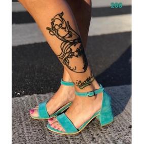 ba2127f5 Sandalias Taco Bajo Zapatos Ojotas - Sandalias de Mujer Verde en ...