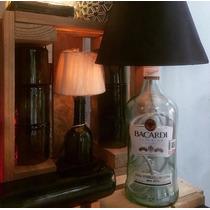 Lampara De Botella Reciclada Y Base De Madera