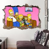 Adesivo Buraco Na Parede Os Simpsons - Gigante 155x100cm