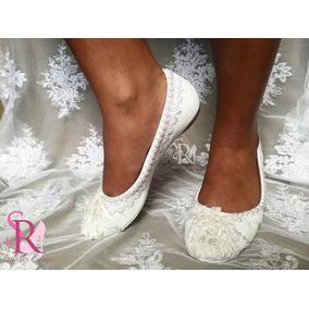 Sapatilha Renda E Perolas Noiva / Casamento