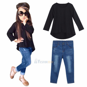 Conjunto Niña Remera Negra Manga Larga Pantalón Jean Azul