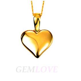 Collar Dije Tipo Corazón Inflado En Plata Baño Oro 24k