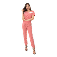 Conjunto Kinara Crepe Bicolor Manga Curta Rosa