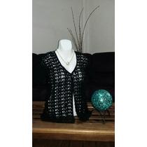 Blusa Manga Corta Tejido Crochet