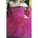 Vestido De 15 Años Largo Color Fucsia Talle S Escucho Oferta