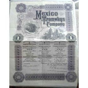 Antigua Accion/bono De Compania De Tranvias Mexico 1906 !!