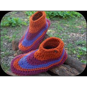 Pantuflas De Lana Tejidas A Mano Al Crochet. T 35/39