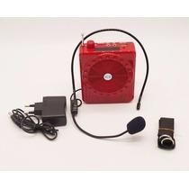 Amplificador Voz Microfone Aula Palestra Professor Vermelho