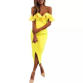 Vestido Sexy Tipo Lapiz Fiesta Hombros Descubiertos Amarillo