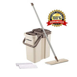 Oshang Flat Squeeze Mop And Bucket - Hand-free Wringing Flo