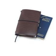 Capa De Couro Passaporte/caderno Viagem Midori-marrom Escuro