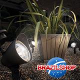 Kit 2 Peças Luminária Solar Refletor Holofote 4 Leds Branco