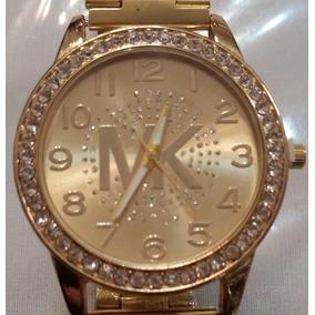 Reloj Mujer Dama Dorado Logo Mk De Moda