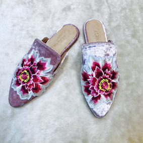 Suecos Zapatos Mocasines De Mujer Bordados