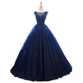 Vestido Debutante Festa 15 Anos 354 Noivas Azul Marinho Luxo