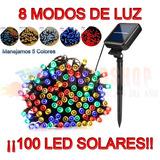 Serie Solar Navidad Recargable Sensor Luz 12mts 100 Led