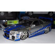 1:24 Nissan Skyline R34 Plata Rapido Y Furioso Jada Display