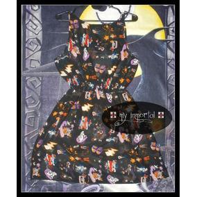 Vestido De Gasa Estampada 80´s Punk, Pin Up, Dark, Goth