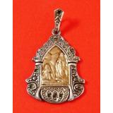 Medalla Virgen De Lourdes Antigua Plata 900 Oro 18 Kilates