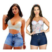 Kit Dois Short Jeans Cintura Alta By Bellatotti