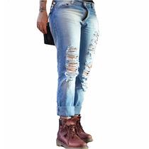Jean Boyfriend Mujer Ss17 Streetwear Swag Roto Ripped