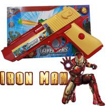 Arma Brinquedo Pistola Nerf Atira Homem De Ferro + 3 Dardo