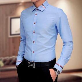 Camisa Social Masculina Slim Fit Luxo Importada Varias Cores