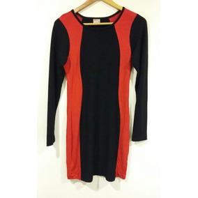 Vestido N M D Negro Y Rojo Algodón Talle 44