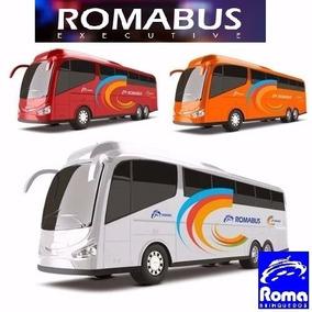2 Brinquedos Onibus Roma Bus Executive 1 Branco , 1 Laranja