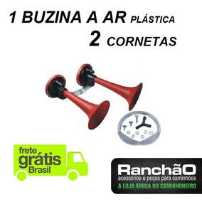 Buzina Ar Para Caminhão Barco 2 Cornetas Vermelha Plastica