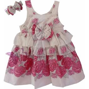 Lindo Vestido Menina Festa Branco C Floral Rosa Babado Laço