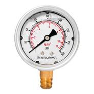 Manómetro Inox Glicerina 2.5 PLG , 160 Psi (aire, Agua)