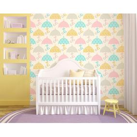 Papel Parede Adesivo Vinilico Infantil Baby Guarda Chuva