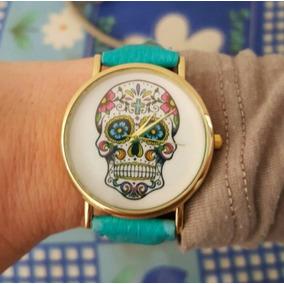 Relógio Pulso Caveira Mexicana Feminino Flores (alça Azul)