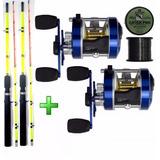 Kit 2 Carretilha Caster 400 + 2 Vara 1,80 M + Linha