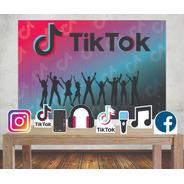 Kit Painel Poli Banner + Displays Festa Tik Tok Rede Social