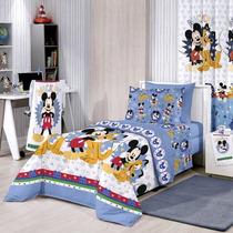 Jogo De Lençol 3 Peças Mickey Mouse + Par De Cortina