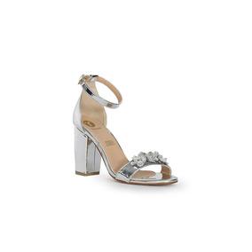 Trender Sandalia Color Plata Con Broche Decorativo 9170733