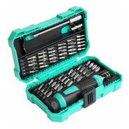 Kit Destornillador Caja 57 Piezas Proskit Sd-9857m Set Con Estuche Profesional Puntas Planas, Philips, Torx Y Otras