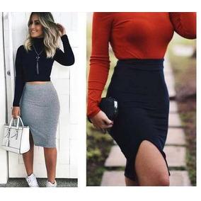 Saia Com Fenda Aberta Viscolycra Moda Blogueira