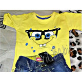 Camisa Blusa Camiseta Infantil Super Herois Bob Esponja