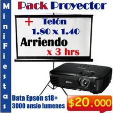 Arriendo De Proyector 3000 Lumenes + Telón 1.8mts + Atril 3h