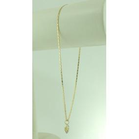 Tornozeleira Piastrine 24 Cm Pingente Coração Ouro 18k 750