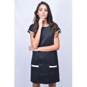 Vestido Casual Micca Black And White Lino