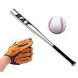 Juego Bate De Baseball Con Guante Y Pelota 60 Cm Aluminio